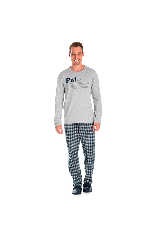 012/D - Pijama Adulto Masculino Xadrez Família Completa