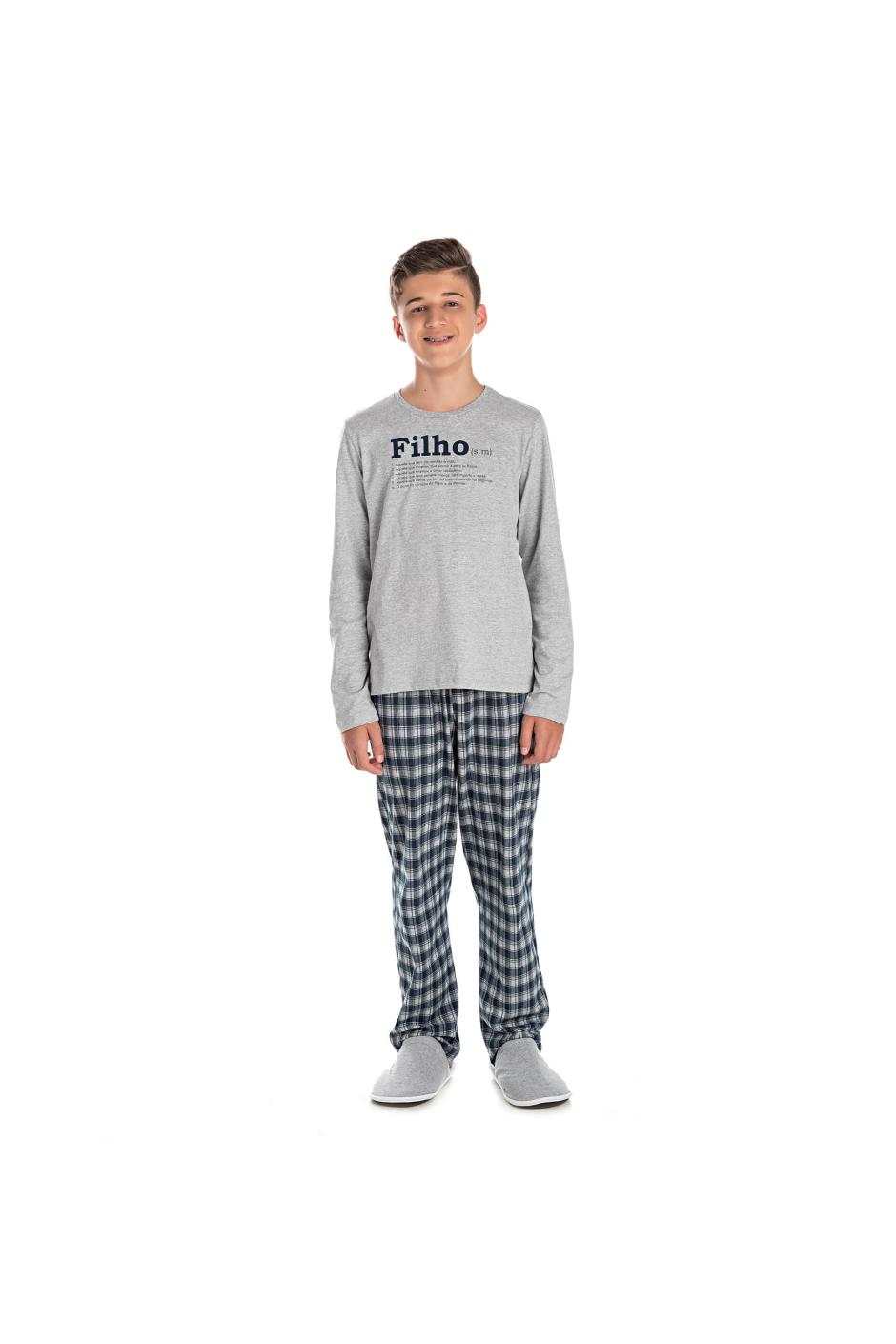 002/E - Pijama Juvenil Masculino Xadrez Família Completa