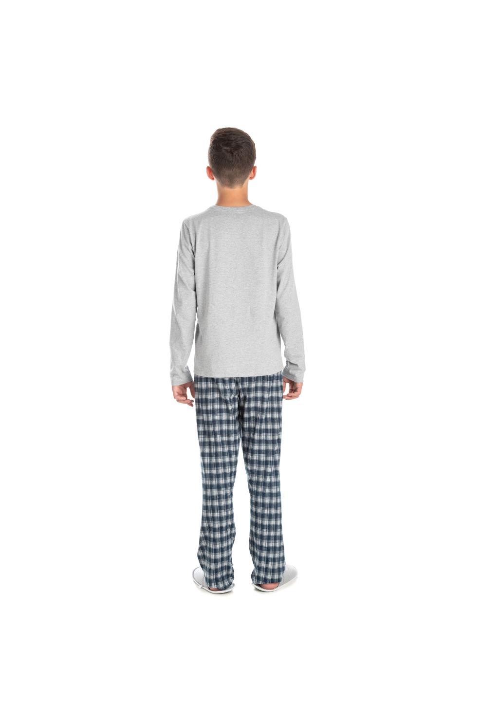 190/E - Pijama Juvenil Masculino Xadrez Família Completa