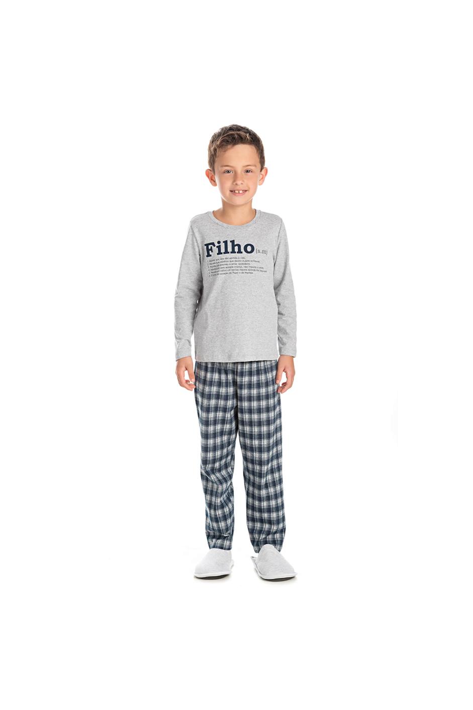 002/F - Pijama Infantil Masculino Xadrez Família Completa