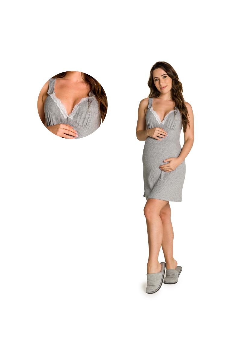 003/I - Camisola Maternidade Canelado com Renda e Abertura Amamentação