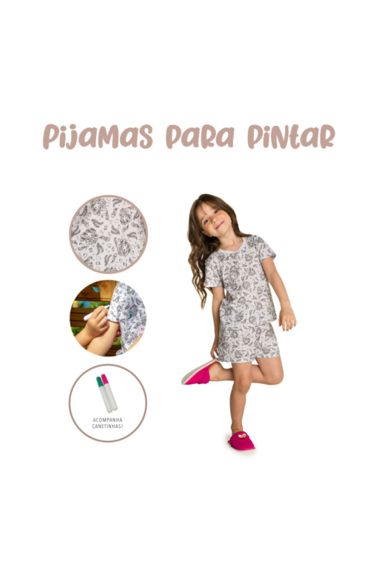 004/A - Pijama Infantil Feminino Sereia para Colorir!!!