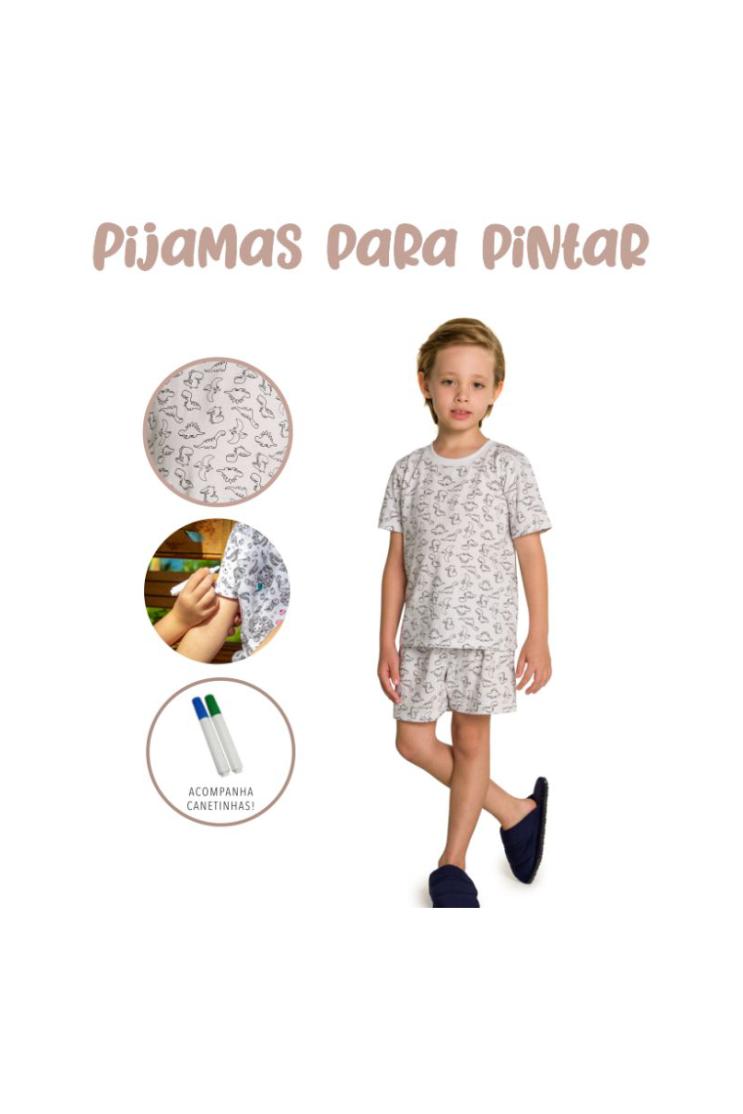010/B - Pijama Infantil Masculino Dinossauros para Colorir!!!