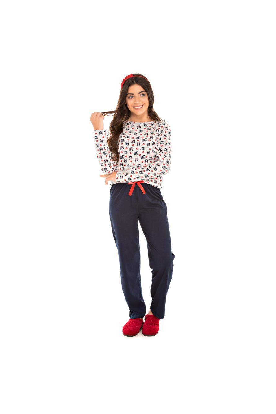 004/B - Pijama  Juvenil Feminino Bulldog Marinho