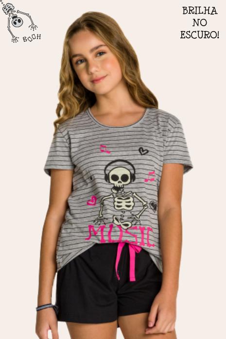 004/B - Pijama Juvenil Feminino Família Skeleton - Brilha no Escuro