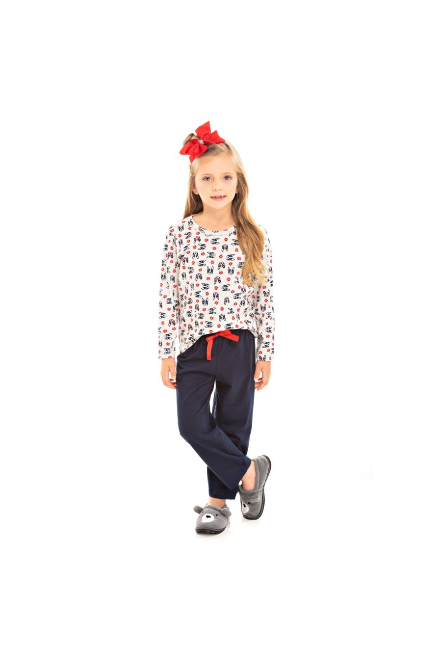 004/C - Pijama Infantil Feminino Bulldog Marinho