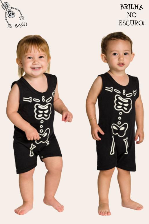 004/G - Macaquinho Bebê Unissex Família Skeleton - Brilha no Escuro