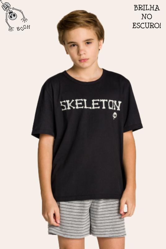 004/E - Pijama Juvenil Masculino Família Skeleton - Brilha no Escuro