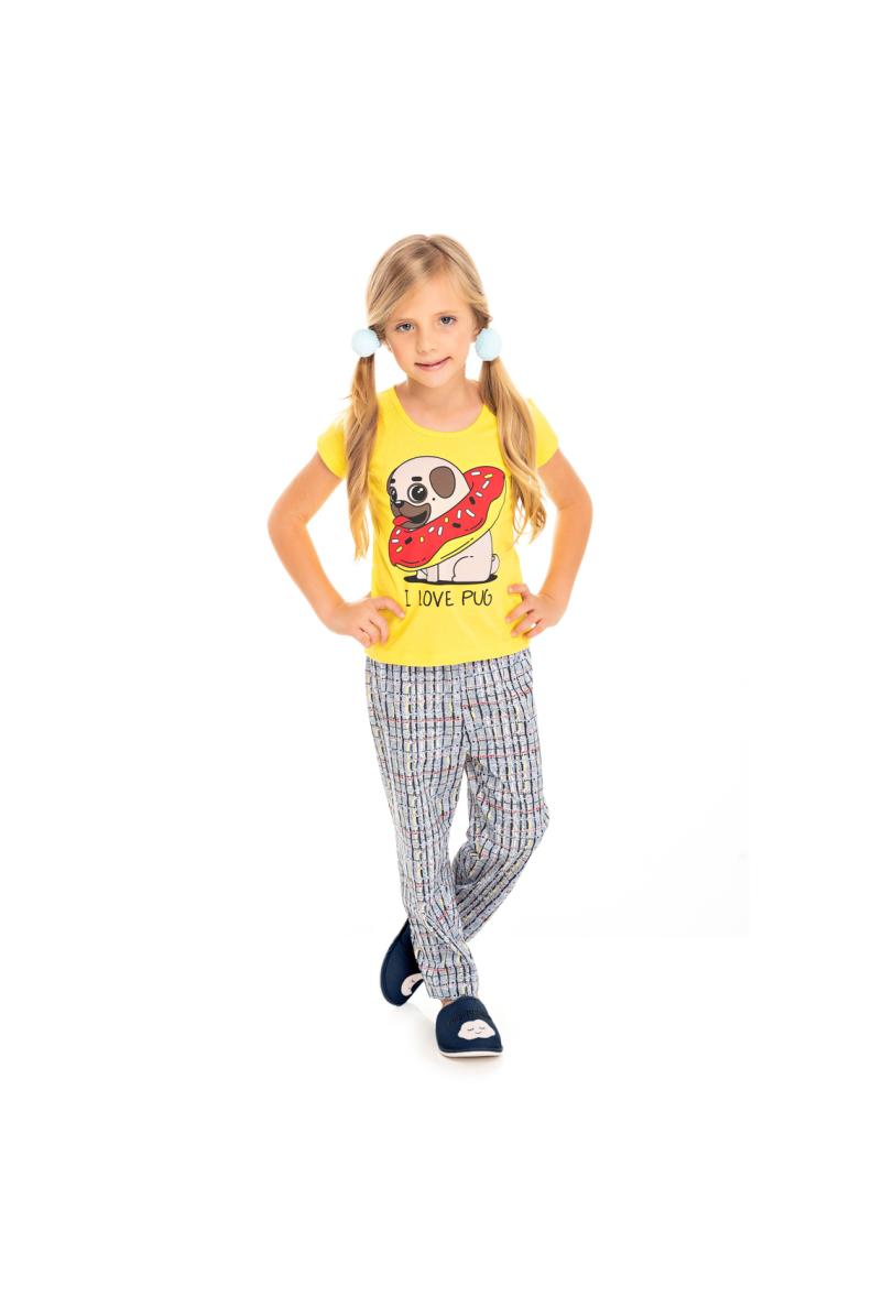 216/J - Pijama Infantil Feminino I Love Pug