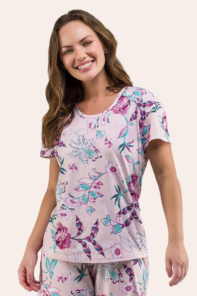 005/A - Pijama Adulto Floral Pantacourt
