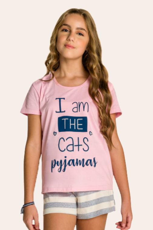 201/A - Short Doll Juvenil Feminino Familia Cats - Meow