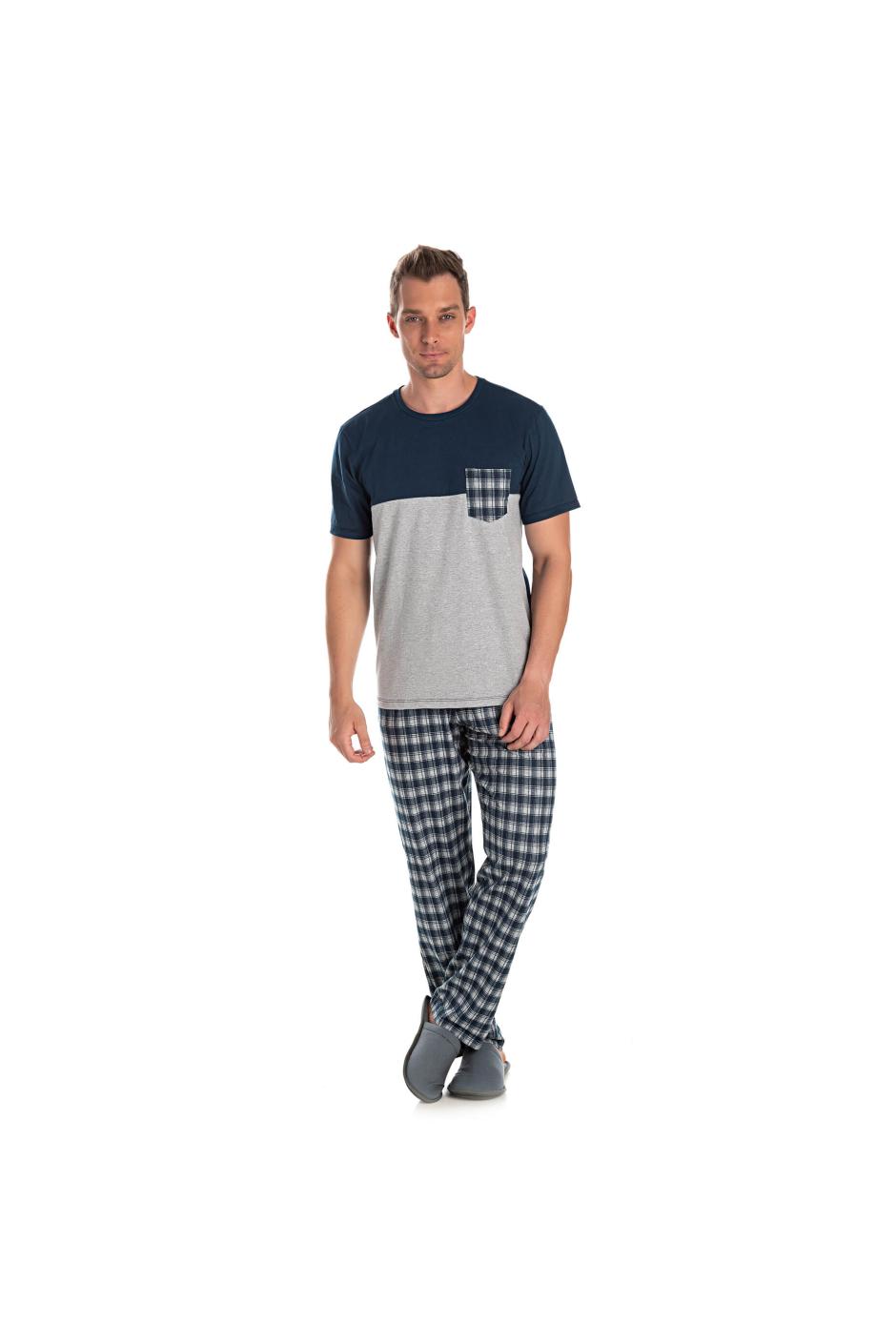 025/C - Pijama Adulto Masculino Camisa Meia Estação Xadrez