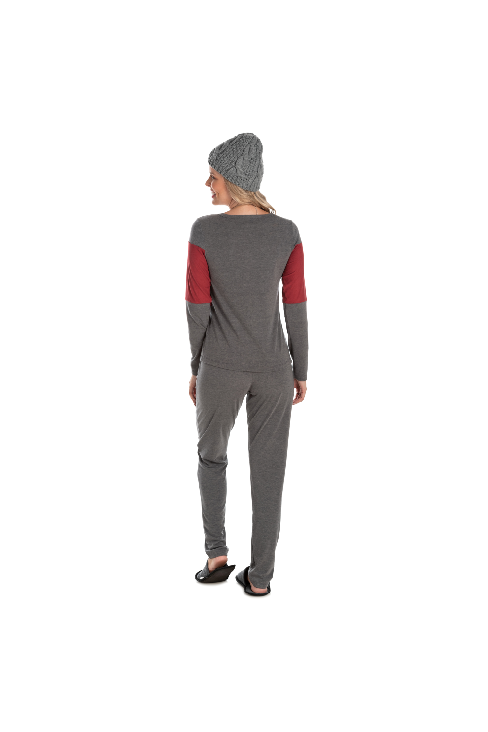 202/E - Pijama Longo Adulto Feminino Suede Bordô