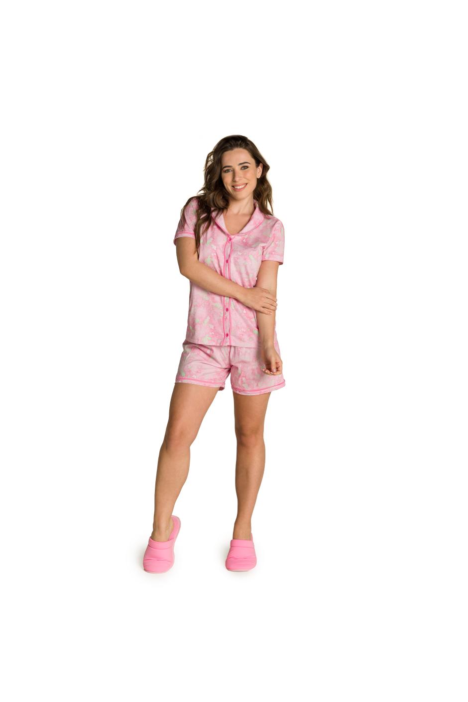 006/C - Pijama Feminino Adulto Tie Dye com Gola e Filetes