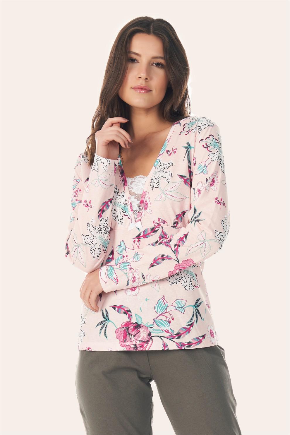 006/I - Pijama Adulto Floral Com  Renda