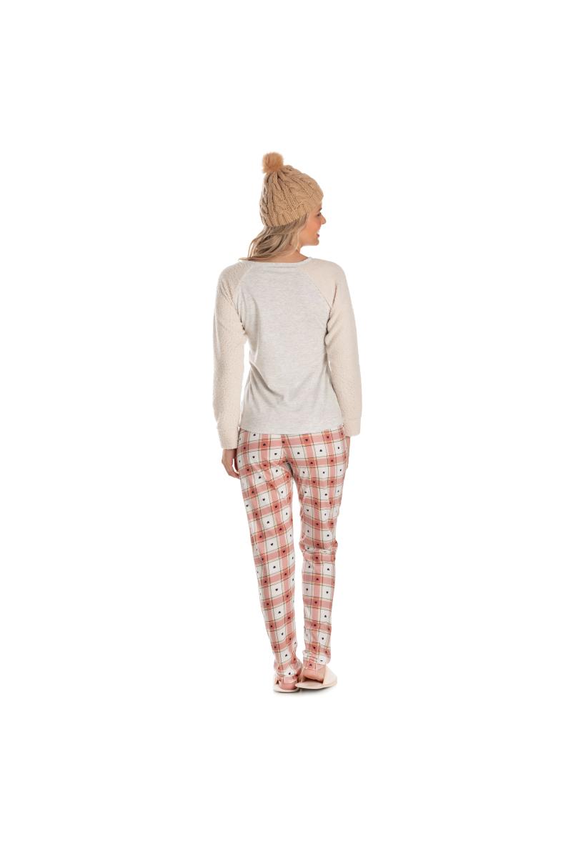 017/A - Pijama Adulto Feminino com Pelo Carneirinho