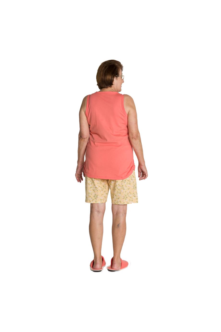 043/C - Pijama Adulto Feminino Regata Básica Short Estampa de Margarida