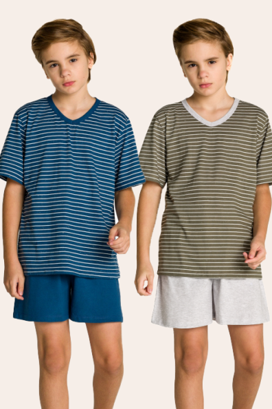 202/B - Pijama Juvenil Masculino Pai e Filhos Botonê Listrado