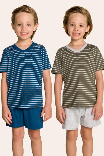 214/B - Pijama Infantil Masculino Pai e Filhos Botonê Listrado