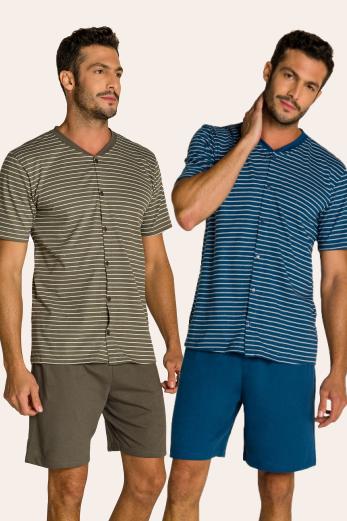 134/E - Pijama Adulto Masculino Aberto Listrado