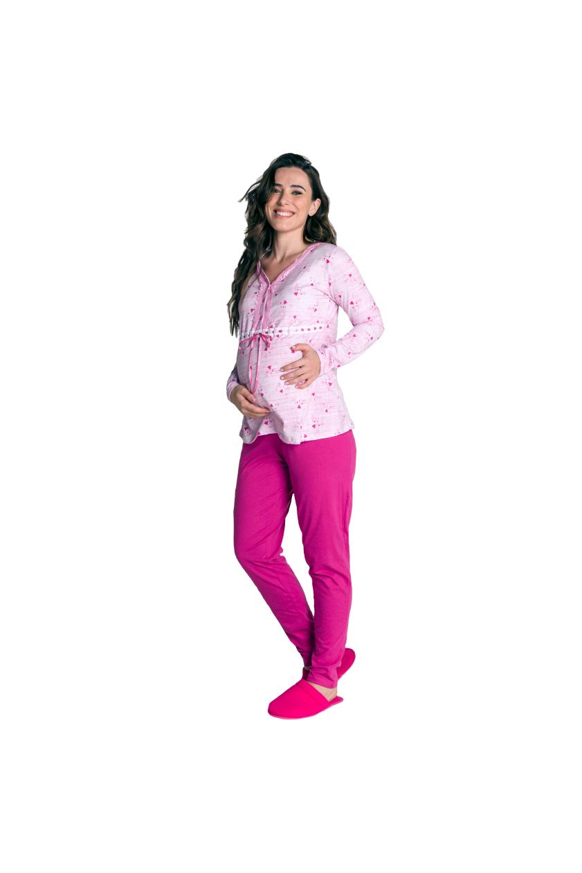016/A - Pijama Maternidade Gatinho Rosa