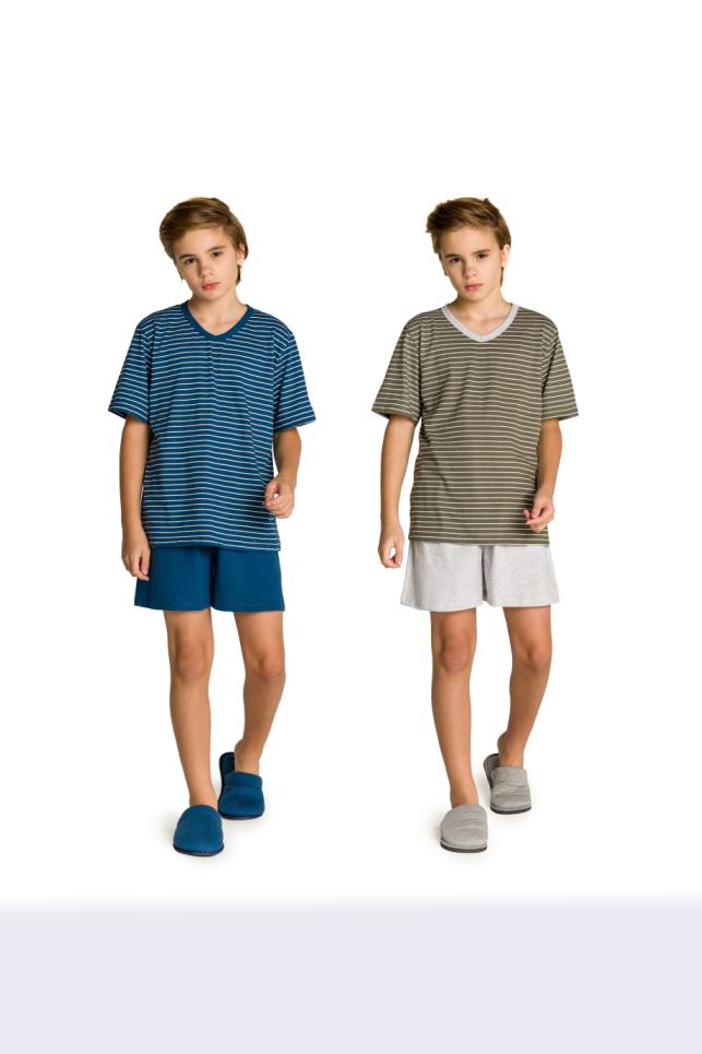 027/G - Pijama Juvenil Masculino Pai e Filhos Botonê Listrado