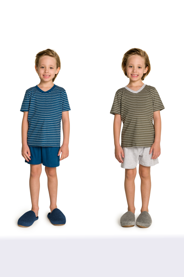 027/F - Pijama Infantil Masculino Pai e Filhos Botonê Listrado