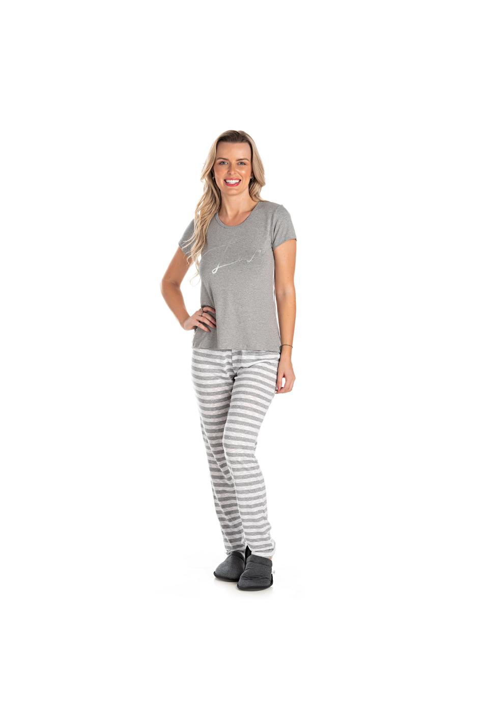 009/A - Pijama Adulto Feminino Curto Com Fio Flamê