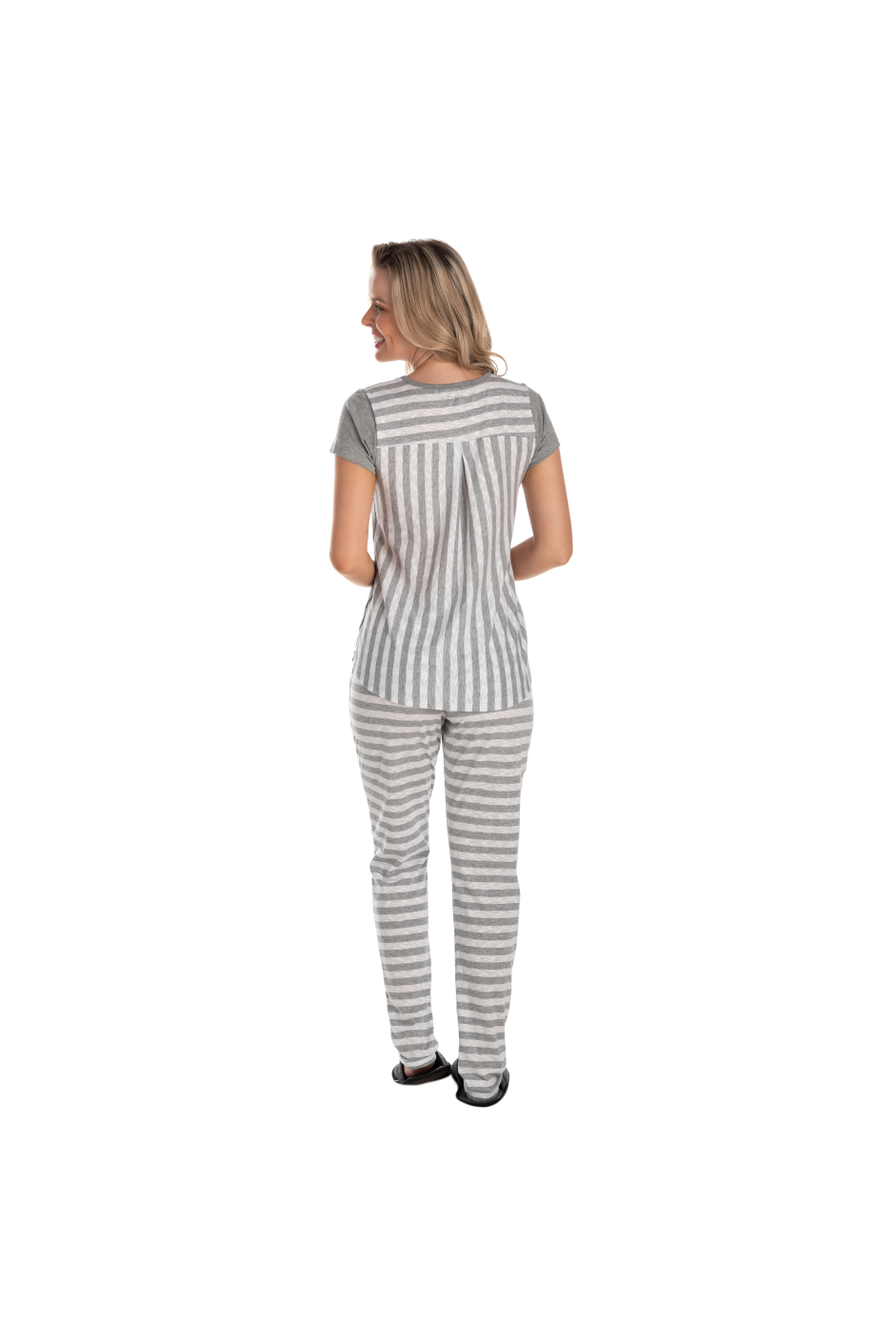 212/D - Pijama Adulto Feminino Curto Com Fio Flamê