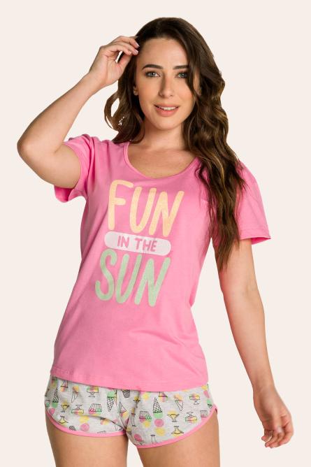 240/F - Pijama Adulto Feminino Curto Estampa Glitter - Mãe e Filha