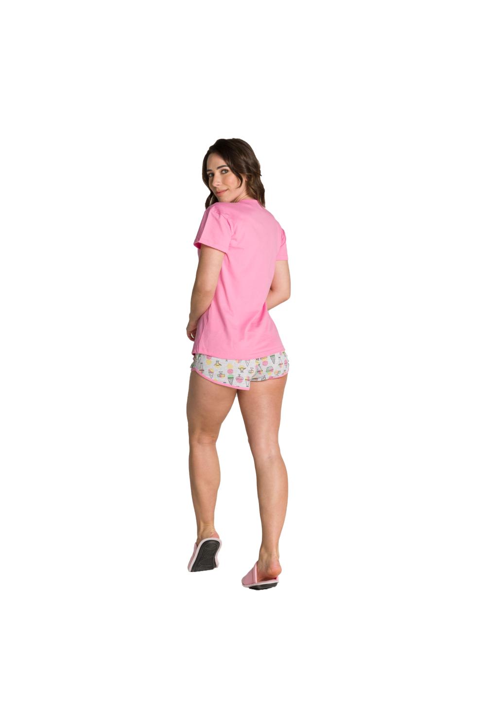 009/B - Pijama Adulto Feminino Curto Estampa Glitter - Mãe e Filha