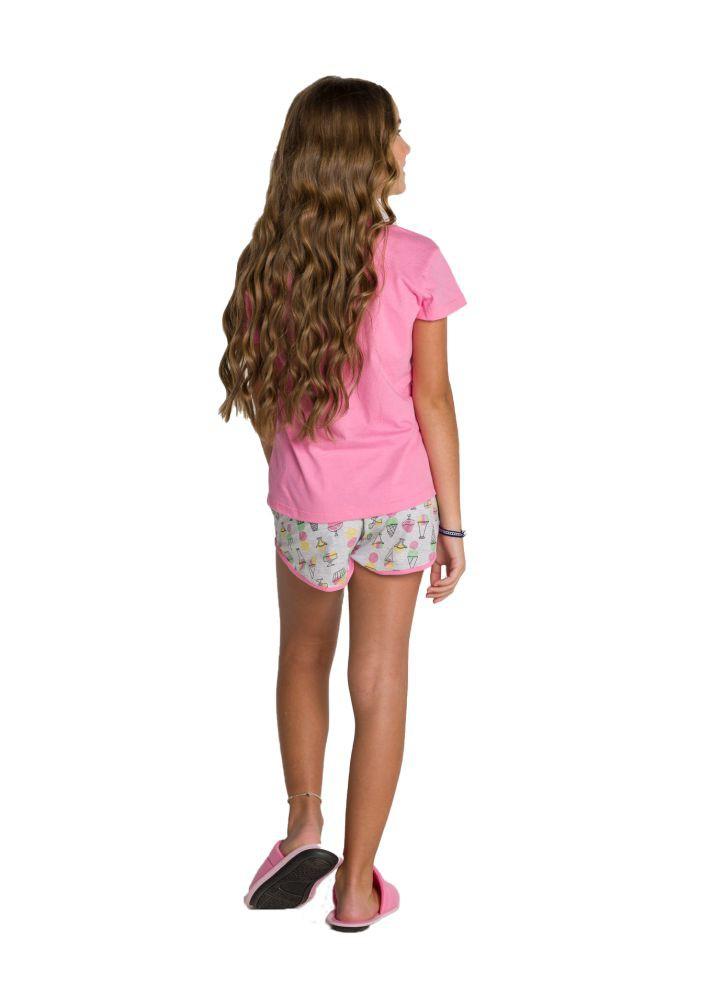009/C - Pijama Juvenil Feminino Curto Estampa Glitter - Mãe e Filha