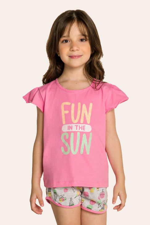 009/D  - Pijama Infantil Feminino Curto com Babado e Estampa Glitter - Mãe e Filha