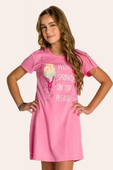 128/B - Camisola Juvenil Sorvete com Granulado - Mãe e Filha