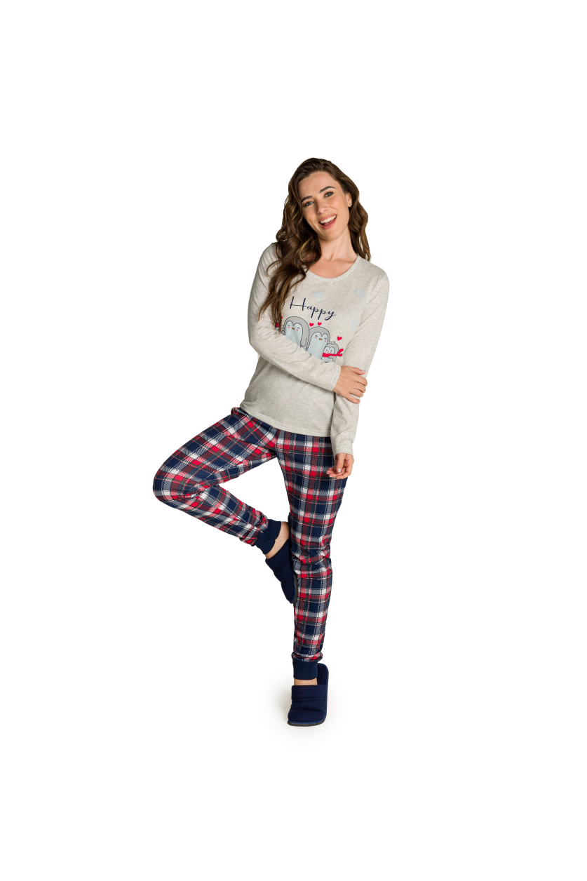 002/A - Pijama Adulto Feminino Happy Family - Mescla