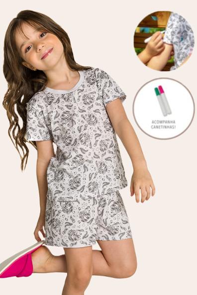 010/A - Pijama Infantil Feminino Sereia para Pintar!!!