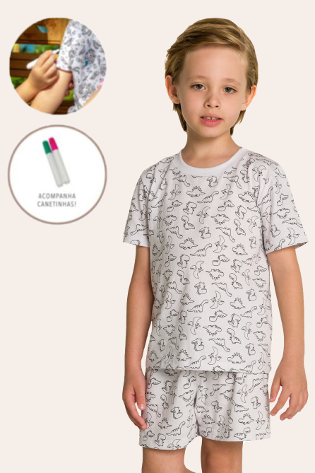 010/B - Pijama Infantil Masculino Dinossauros para Pintar!!!