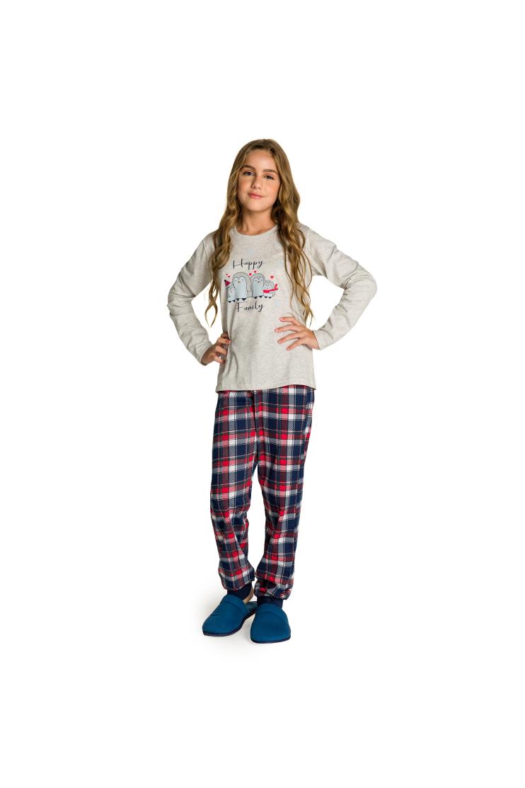 002/B - Pijama Juvenil Feminino Happy Family - Mescla
