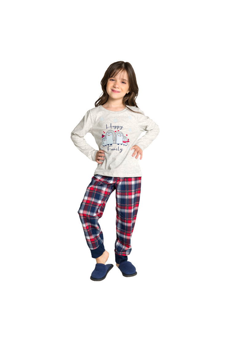 002/C - Pijama Infantil Feminino Happy Family - Mescla