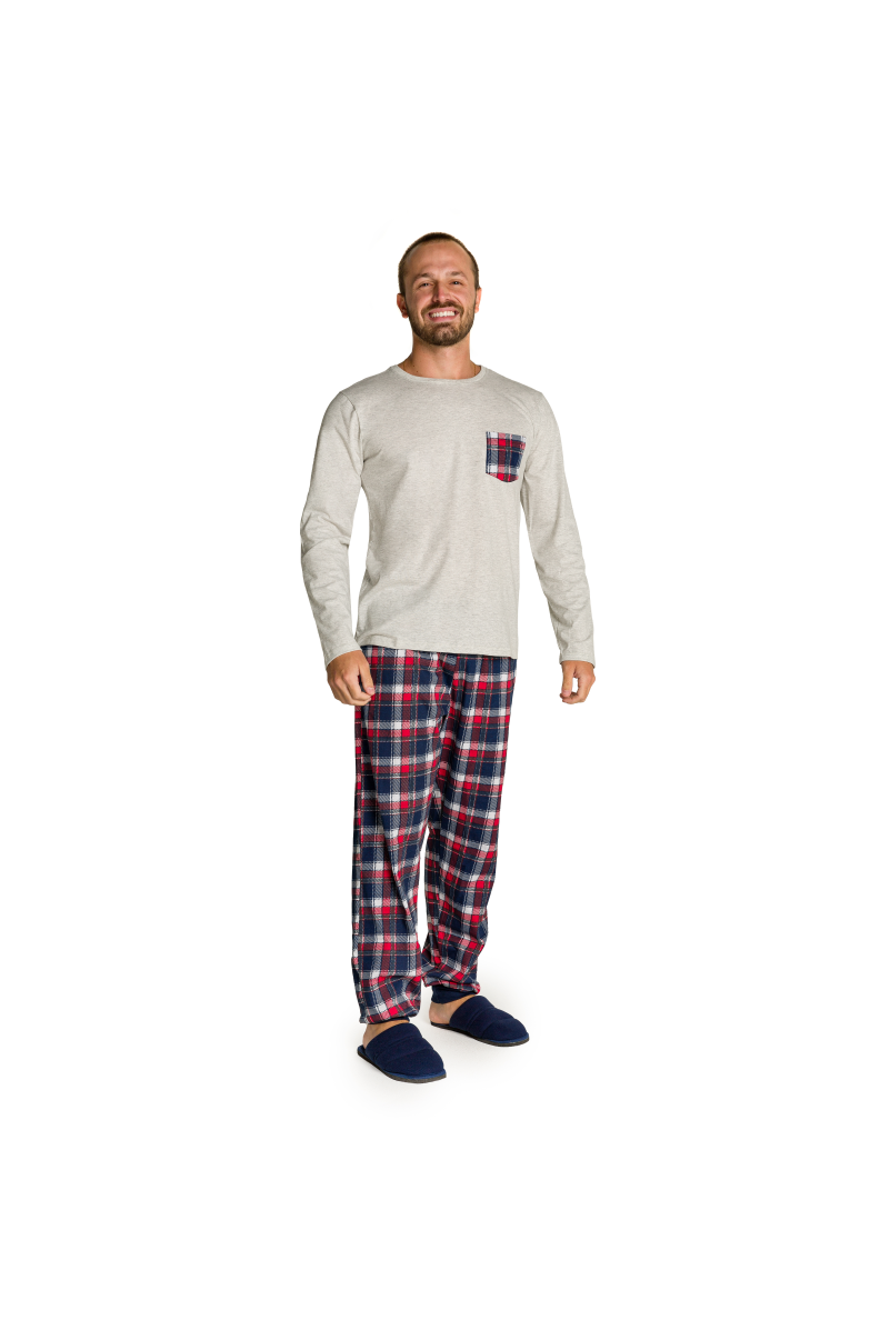 002/D - Pijama Adulto Masculino Happy Family - Mescla