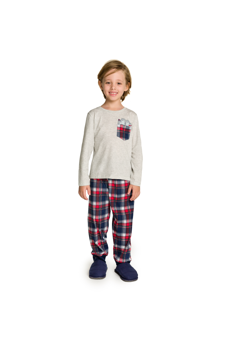 002/F - Pijama Infantil Masculino Happy Family - Mescla