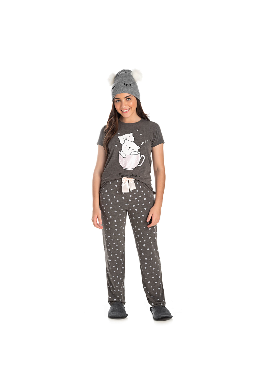 009/B - Pijama Juvenil Feminino Feline Sleep zZzZ