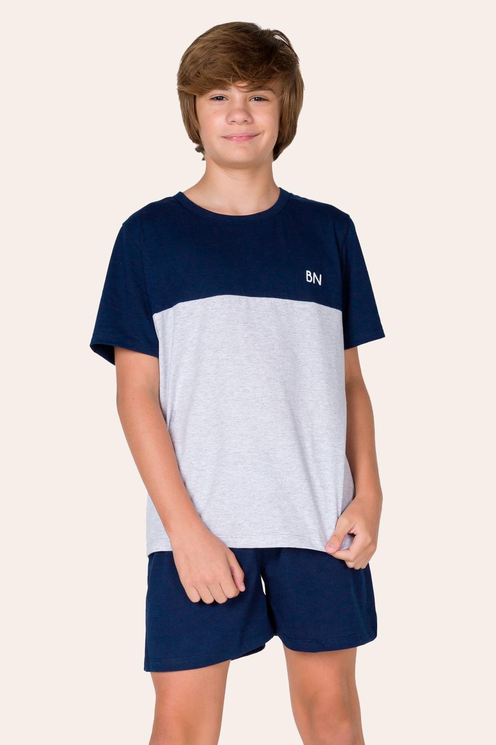 035/B - Pijama Juvenil Masculino com Recorte