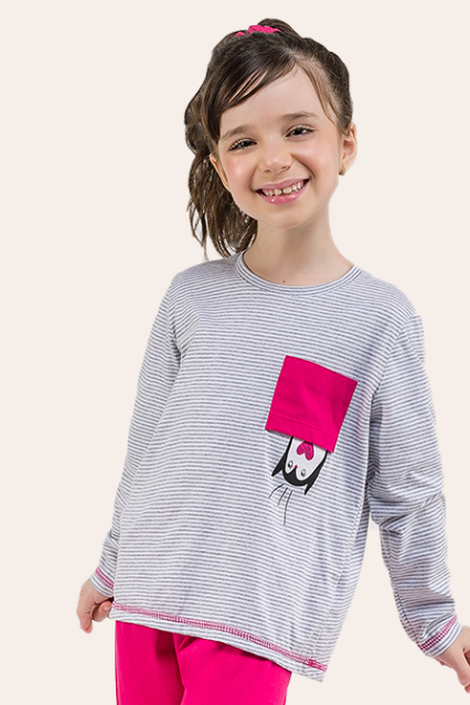 011/C - Pijama Infantil Feminino Com Bolso Pinguin