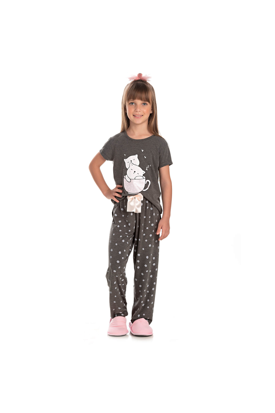 009/C - Pijama Infantil Feminino Feline Sleep zZzZ