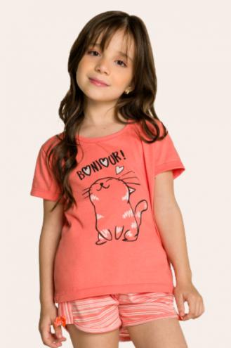 011/C - Short Doll Infantil Feminino Bonjour - Estampa Perolada