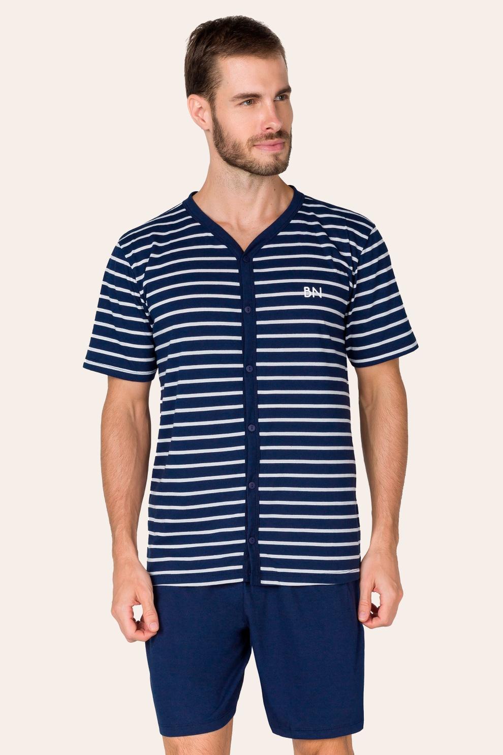 013/A - Pijama Adulto Masculino com Botões Listrado
