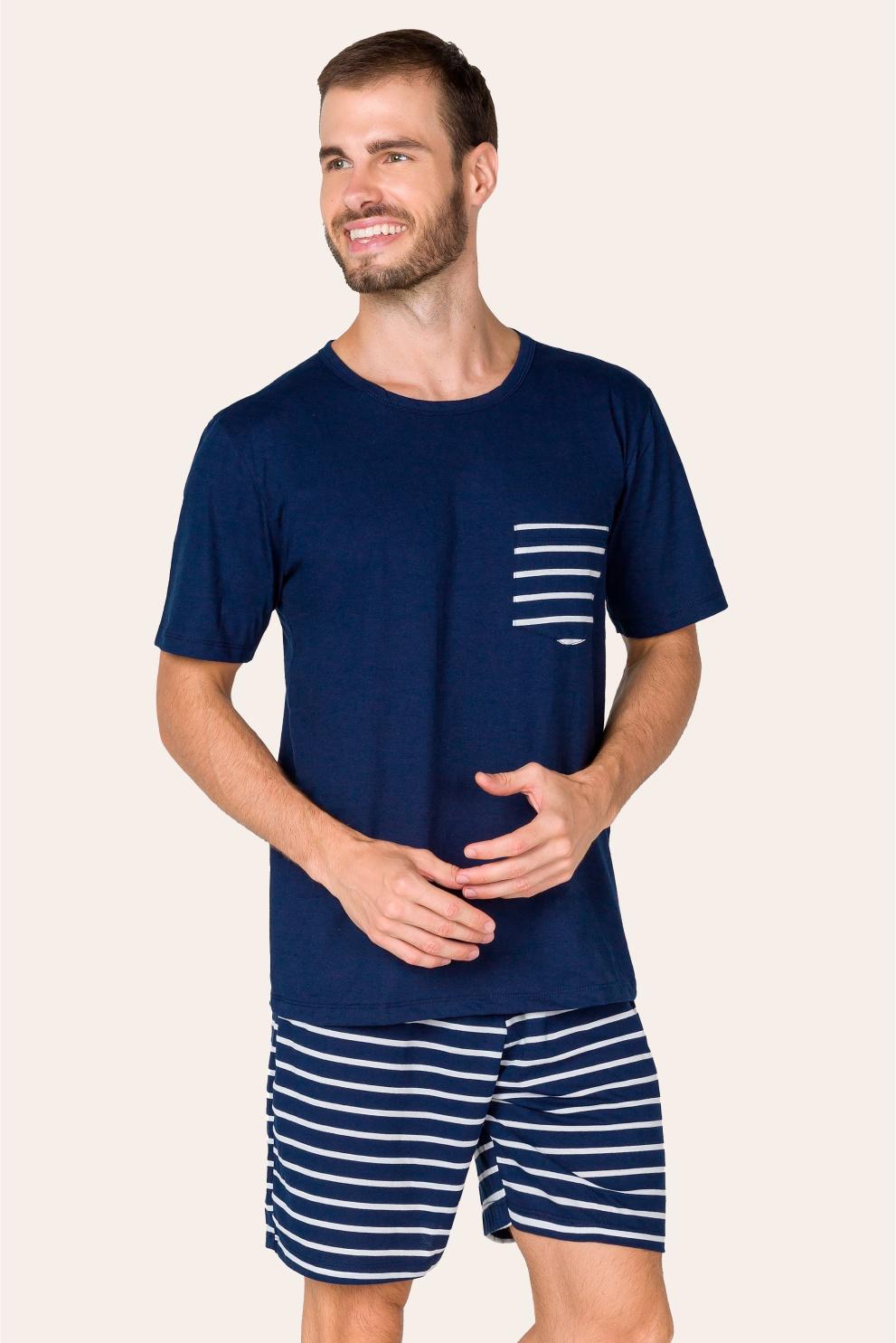 013/C - Pijama Adulto Masculino Listrado com Bolso