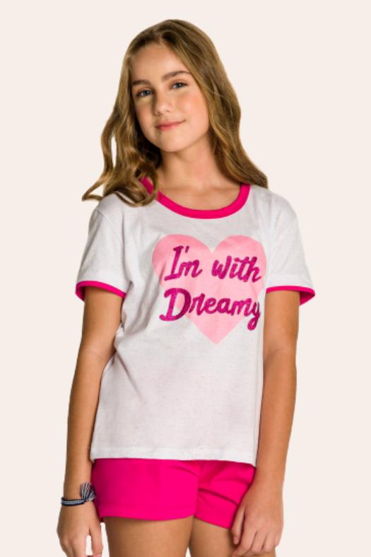 014/B - Pijama Juvenil Feminino em Botonê Estampa Glitter - Mãe e Filha