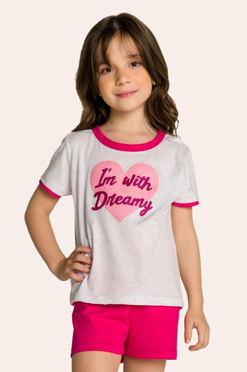 014/C - Pijama Infantil Feminino em Botonê Estampa Glitter - Mãe e Filha